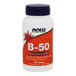 Купить B Комплекс (Now B-50 Complex) Витамины группы Б, 100 капсул фото