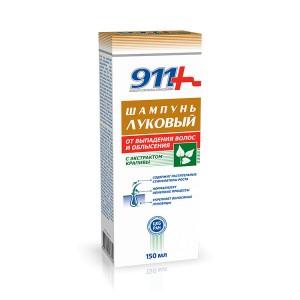 """Шампунь """"Луковый с экстрактом крапивы"""" от выпадения волос и облысения """"911"""", 150 мл"""