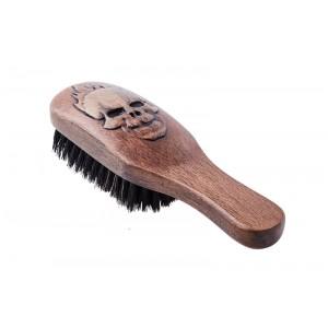 Щетка для укладки бороды, с ручкой, натуральная щетина, 8-рядная