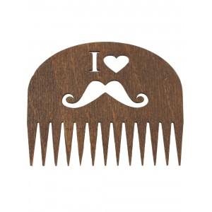"""Расческа деревянная для бороды и усов """"Я люблю усы"""""""